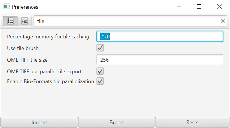 Tile cache preference
